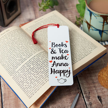 Personalised Books And Tea Make Me Happy Bookmark