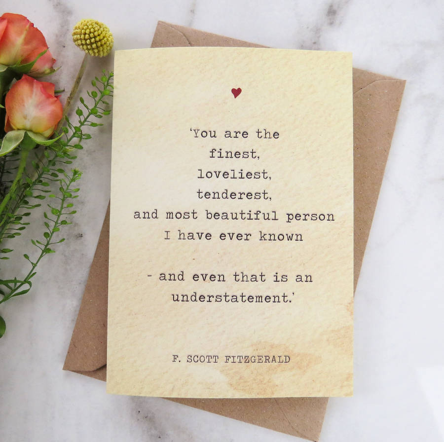 Exceptional Literature Valentines Card F.Scott Fitzgerald Quote