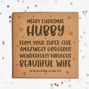 Merry Christmas Hubby Square Card