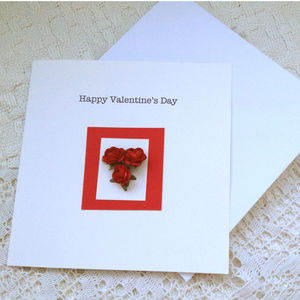 Valentines Card With Red Roses