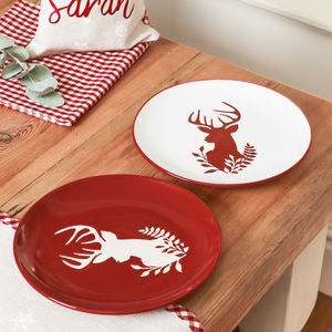 Cranberry And White Stag Side Plates