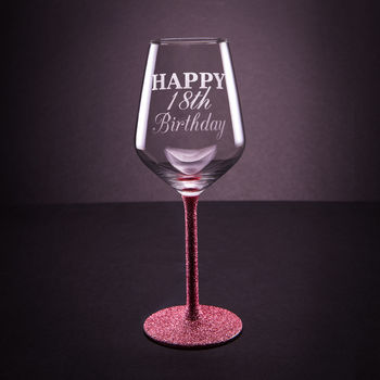 Personalised Birthday Glittered Wine Glass