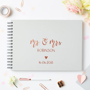 Mr And Mrs Script Wedding Guest Book - gifts for the groom