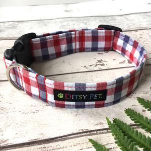 Rupert Plaid Checked Dog Collar - walking