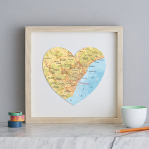 Personalised Location Barcelona Map Heart Print