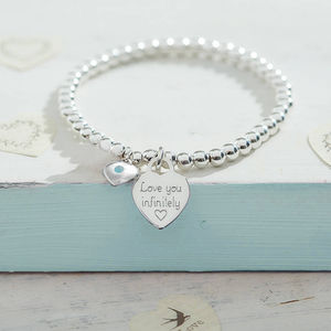 Birthstone Personalised Silver Ball Bracelet