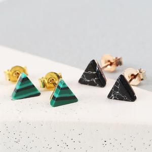 Semi Precious Stone Triangle Stud Earrings - earrings