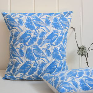 Jays And Acorns Block Printed Cotton Cushions