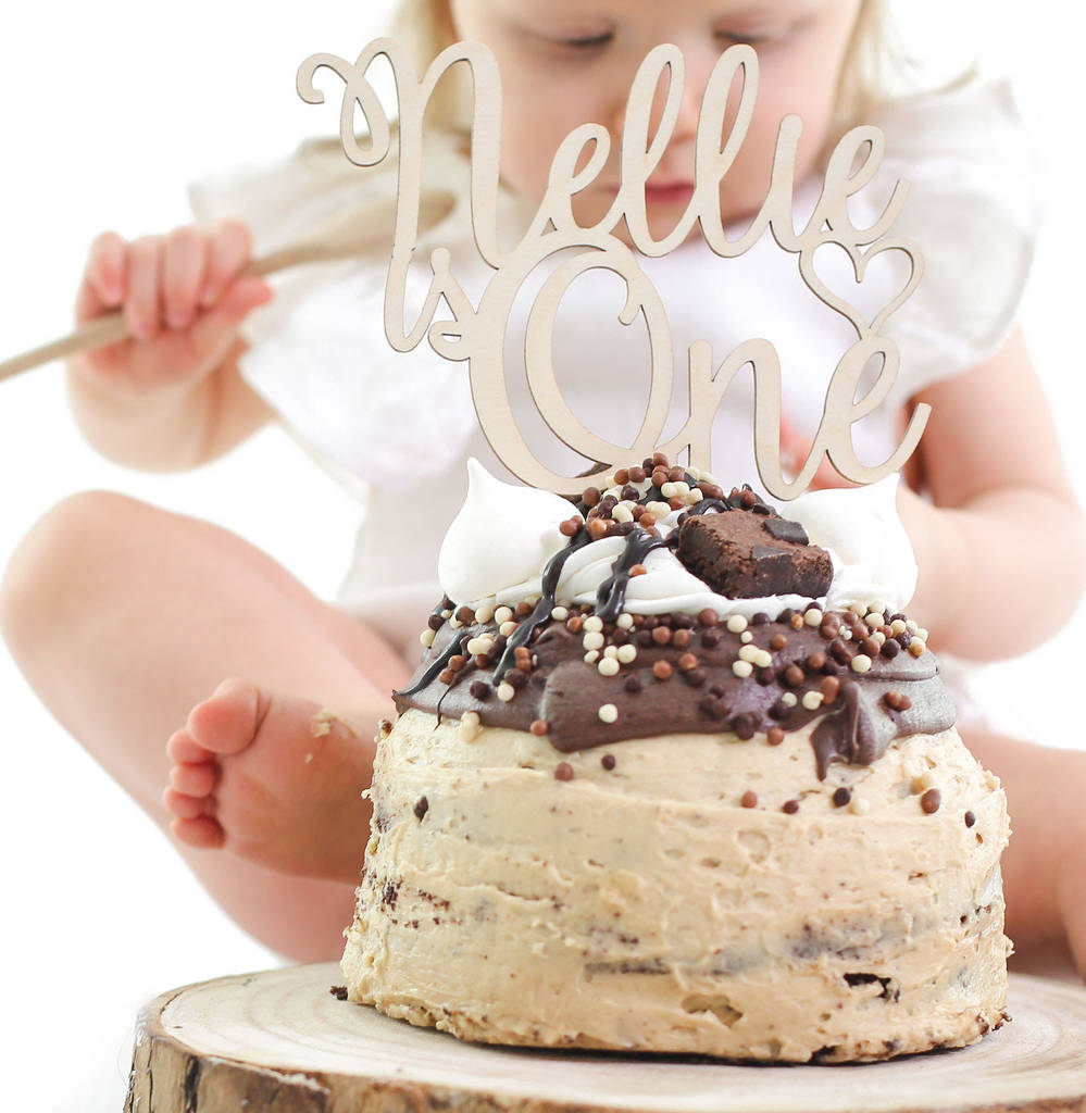 Wooden Personalised Childrens Birthday Cake Topper