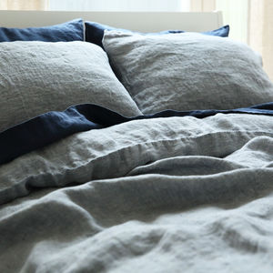 Stone Washed Herringbone Bedlinen Set Navy Blue
