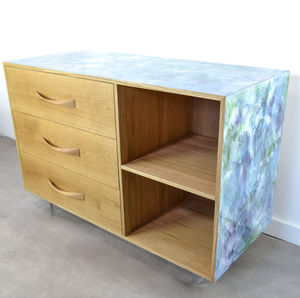 Oak Three Drawer Sideboard With Poured Resin Art Detail