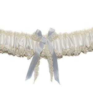 Delphina Ivory Silk Lace Wedding Garter With Bow
