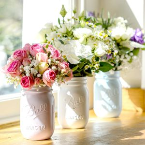 Vintage Style Hand Painted Mason Jar With Flowers - fresh & alternative flowers