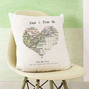 Special Place Vintage Map Cushion - 2nd anniversary: cotton
