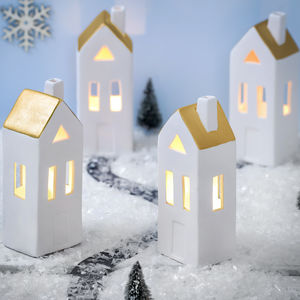 Ceramic LED White And Copper House - children's room accessories