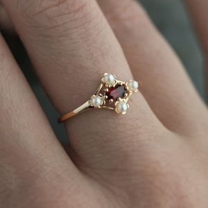 Vintage Garnet And Pearl Floral Silver Or Gold Ring