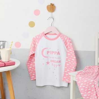 Girls Personalised Moon And Star Pyjamas
