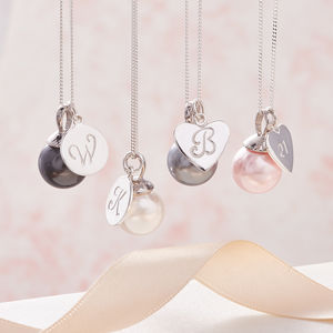 Pearl Pendant Necklace In Silver With Initial - 30th anniversary: pearl