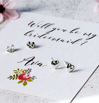 Personalised Will You Be My Bridesmaid Heart Earrings