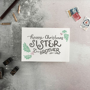 Sister And Brother In Law Letterpress Christmas Card - shop by category