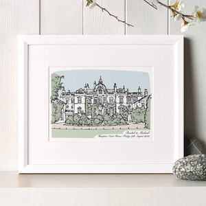 Personalised Wedding Venue Portrait - 1st anniversary: paper