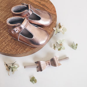 Rose Gold Baby And Toddler T Bar And Hair Bow Gift
