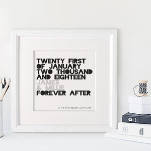 Personalised Forever After Date Print