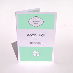 Personalised Good Luck Stripe Card - good luck cards
