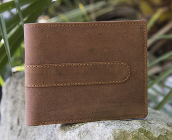 Wombat Rugged Trifold Leather Wallet Rfid Blocking