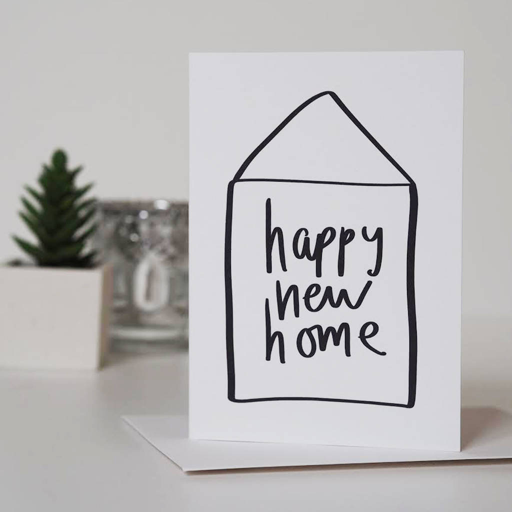 happy new home hand lettered house warming card by sweetlove press