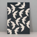 Birds In Night Flight Illustration Print, Wall Art