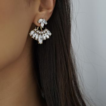 Gold Rhinestone Statement Front Back Earrings