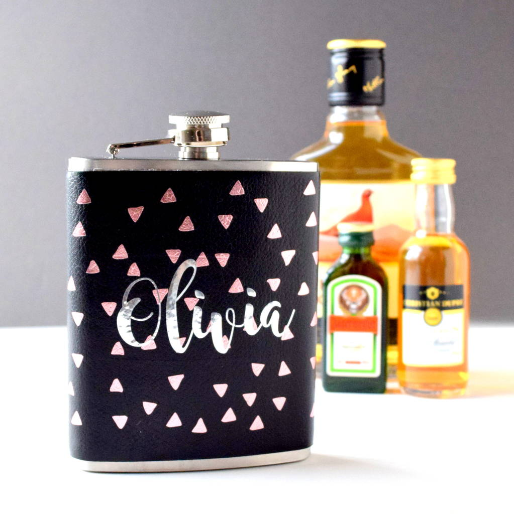 Personalised Triangle Leather Hip Flask