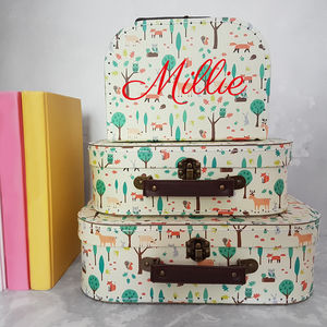 Personalised Woodland Animals Suitcase Storage Box Trio - children's room