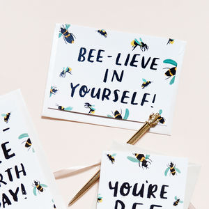 'Beelieve In Yourself' Birthday Card - good luck cards