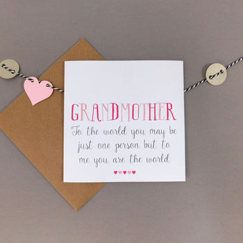 You're The World To Me Grandmother Card