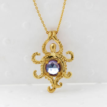 Octopus Alexandrite Necklace Gold/Silver