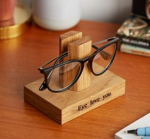 Solid Oak Personalised Glasses Stand By Mijmoj Design