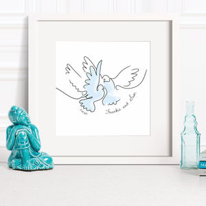 Personalised Wedding Two Doves Line Drawing - best wedding gifts