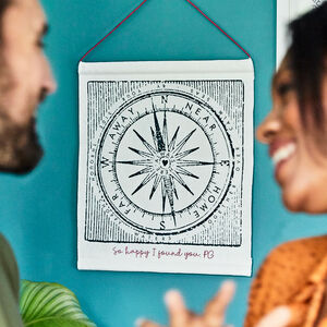Personalised Valentine Compass Printed Wall Hanging