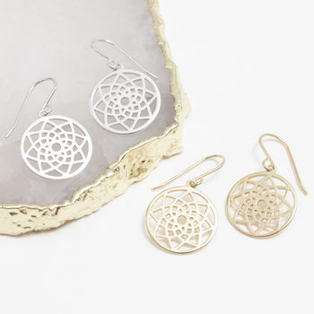 Dreamcatcher Hook Earring Silver, Gold Or Rose