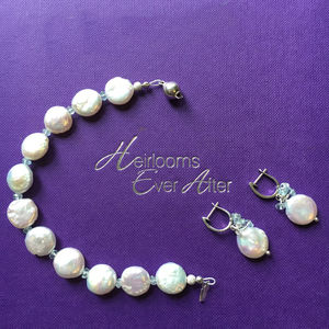 Silver, Aquamarine, Coin Pearls And Cz Set - bracelets & bangles