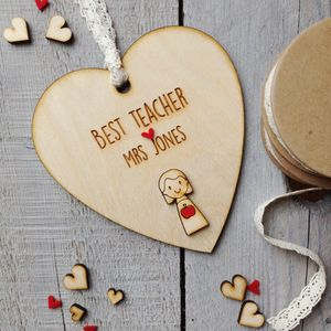 Personalised Best Teacher Thank You Heart - gifts for teachers