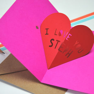 Personalised Pop Up Heart Valentines Card - valentine's cards