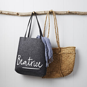 Personalised Grey Felt Shopping Bag