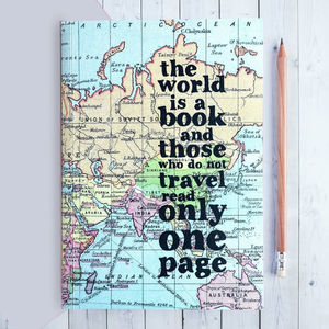 Inspirational 'The World Is A Book…' Travel Journal - travel journals & diaries