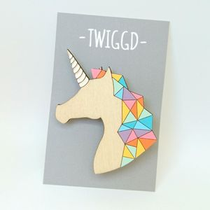 Wooden Unicorn Brooch With Rainbow Mane