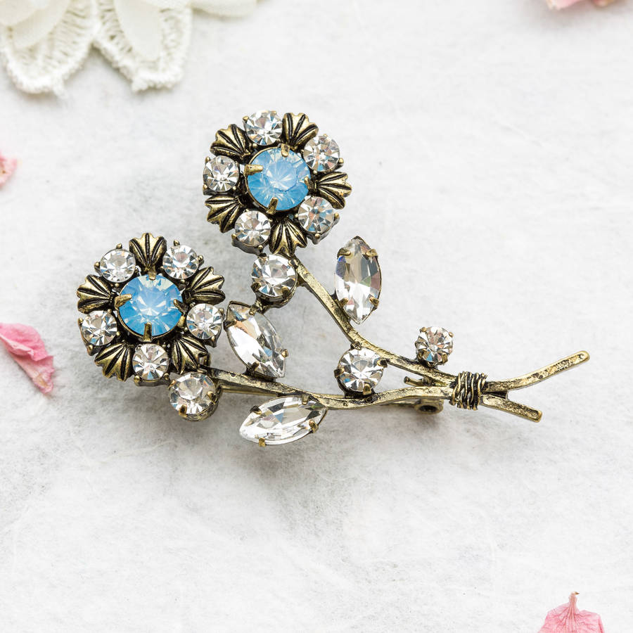 Elie Double Flower Brooch