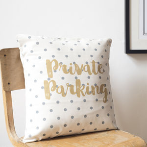 'Private Parking' Cushion Cover