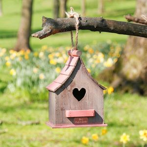 Personalised Red Wooden Heart Birdhouse - personalised